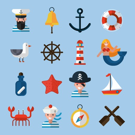 lifebelt: Nautical icons set with sailor anchor lifebelt star fish isolated vector illustration Illustration