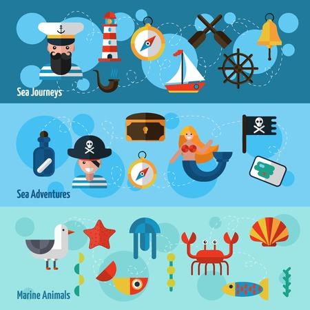 Banderas horizontales náuticos establecidos con aventuras en el mar y los elementos animales marinos aislados ilustración vectorial Foto de archivo - 39264850