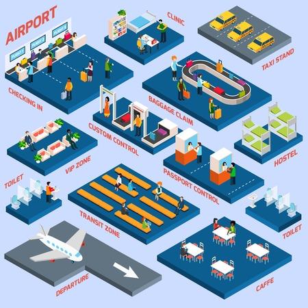 bagagli: Concetto di terminal aeroportuale con il trasporto di passeggeri e zona salotto icone isometrico illustrazione vettoriale