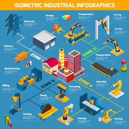 machinery: Plant infographics set with isometric industrial and manufacturing symbols vector illustration Illustration
