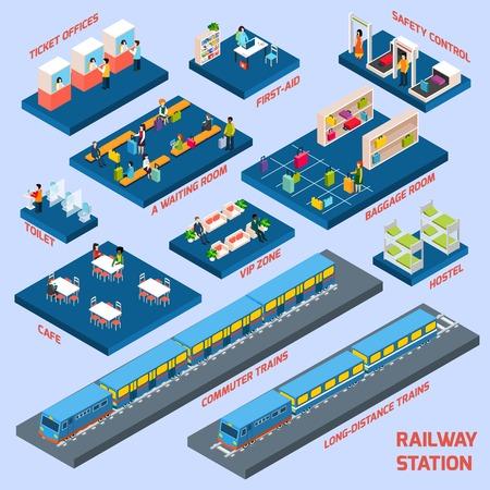 passanger: Railway station concept with isometric passanger transport elements vector illustration Illustration