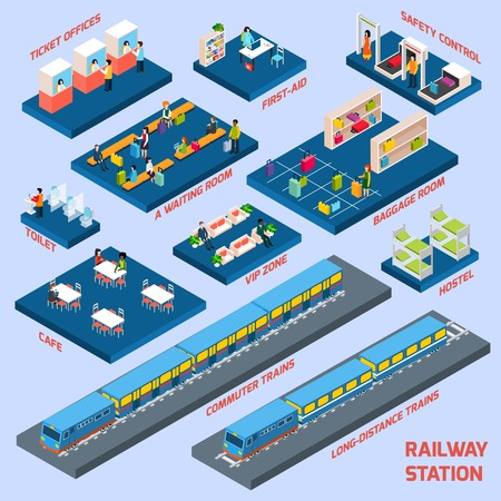 Railway station concept with isometric passanger transport elements vector illustration Illustration