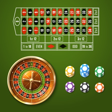 roulette layout: Casino gambling set with european roulette wheel and chips stacks isolated vector illustration