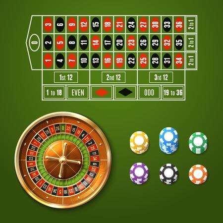 ruleta: El casino que juega conjunto con ruleta europea y patatas fritas apila aislado ilustración vectorial