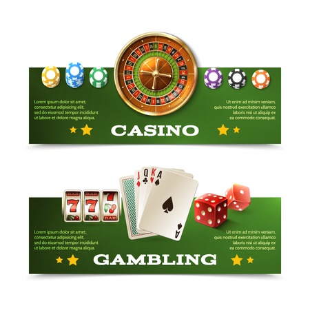 casino chips: Casino horizontal banners set with realistic cards dice roulette and chips isolated vector illustration