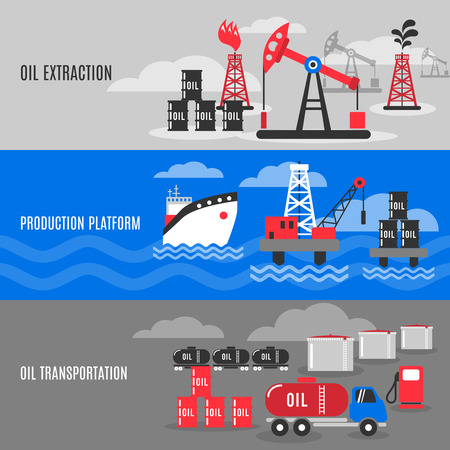 petrochemistry: Petroleum horizontal banner set with oil extraction transportation and production platform elements isolated vector illustration