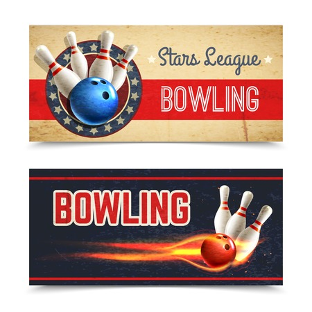 Bowling horizontal banner set with game pins and ball in fire isolated vector illustration