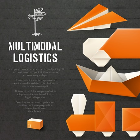 freight transportation: Origami logistic freight and transportation background with paper transport vector illustration Illustration