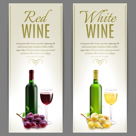 paper banner: Red and white wine paper banner vertical set with glass bottles and grapes isolated vector illustration