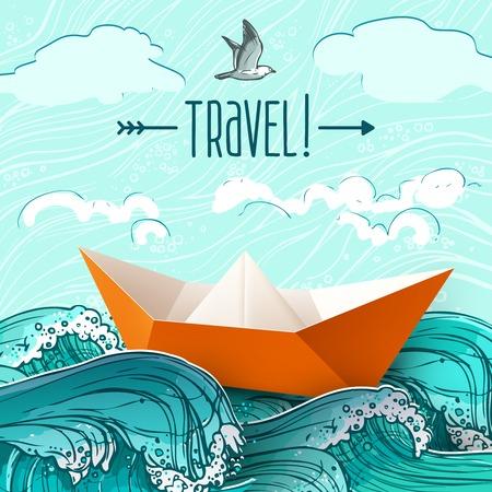 szállítás: Origami papír hajó kézzel rajzolt tenger hullámai vektoros illusztráció