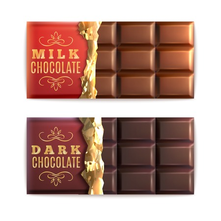 Milk and dark chocolate bars half covered with foil isolated vector illustration