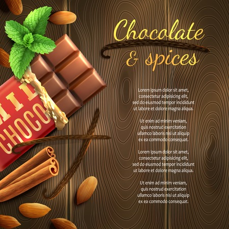 chocolate mint: Realistic chocolate bar with nuts and spices on wooden background vector illustration