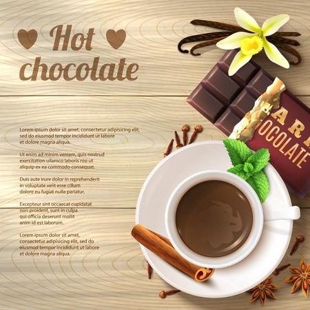 hot chocolate drink: Bebida de chocolate caliente en la taza con las especias en el fondo de madera ilustraci�n vectorial