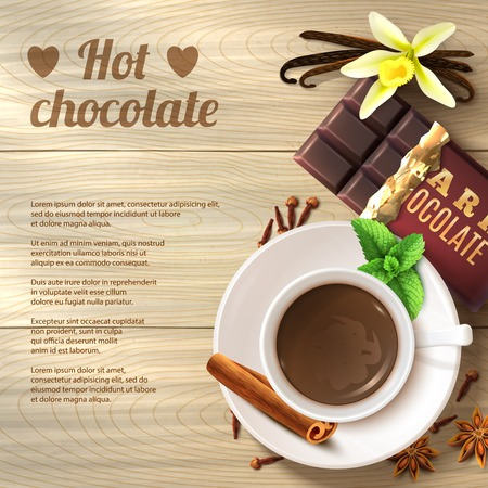 chocolate drink: Hot chocolate drink in cup with spices on wooden background vector illustration