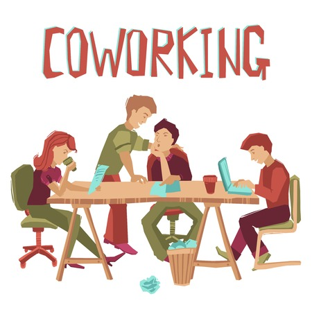 Coworking center concept with people working at table and talking flat vector illustration