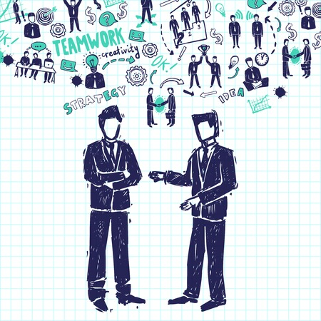 collaboration team: Meeting concept with two businessmen talking about business organization sketch vector illustration