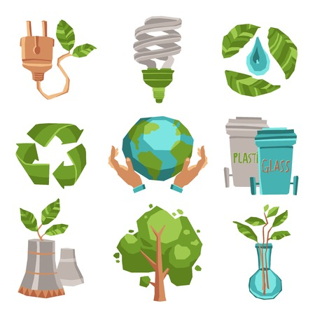 the environment: Ecology recycling and environment icons set flat isolated vector illustration