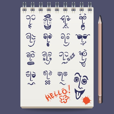 horny: Notebook with sketch faces characters and emoticons and pencil vector illustration
