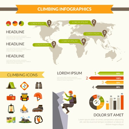 ice climbing: Climbing infographics set with mountain tourism symbols and charts vector illustration Illustration