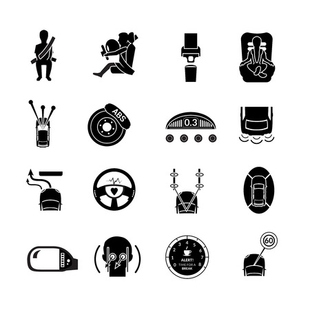 black belt: Car safety auto transportation protection icons black set isolated vector illustration