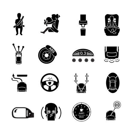 cinturon seguridad: Iconos de la protecci�n de seguridad del coche de transporte de auto negro conjunto aislado ilustraci�n vectorial
