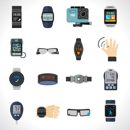 electronics equipment: Wearable technology icons set with smart portable electronic devices isolated vector illustration