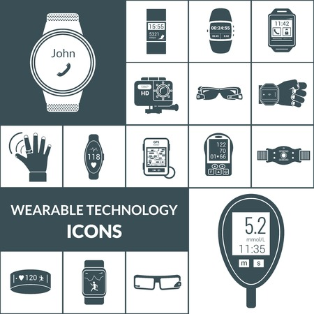 wearable: Wearable technologies icons black set with smart portable electronic isolated vector illustration