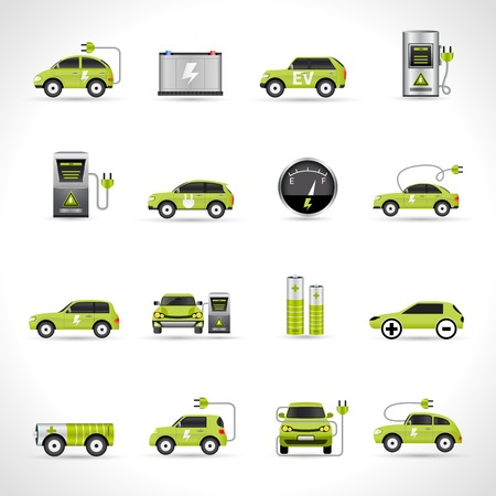 Electric car eco energy transportation icons set isolated vector illustration Illustration