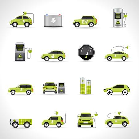 electricidad: Iconos de transporte de energía eco coche eléctrico conjunto aislado ilustración vectorial