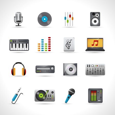 Dj icons set with microphone vinyl disk mixer loudspeaker isolated vector illustration Illustration