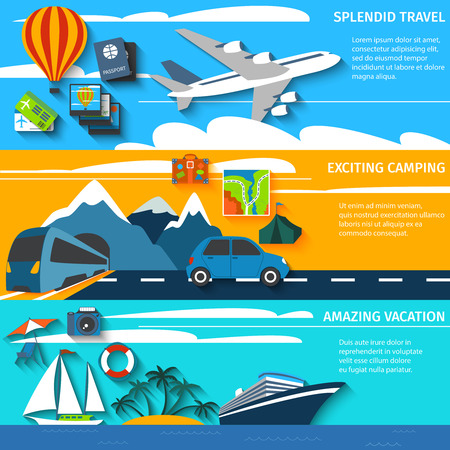 Tropical island vacation aircraft travel and outdoor camping route horizontal banners set flat abstract isolated vector illustration