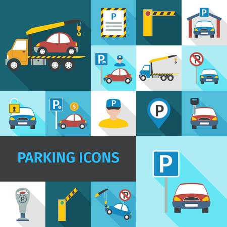 parking garage: Parking garage and car service decorative icons flat set isolated vector illustration