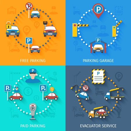 transportation facilities: Parking design concept set with free and paid garage elevator service flat icons isolated vector illustration