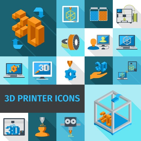 machining: Printer digital 3d technology decorative icons set isolated vector illustration