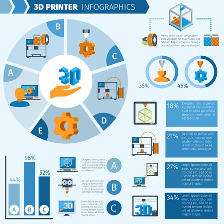 machining: Printer with 3d technologies production infographic elements and charts vector illustration