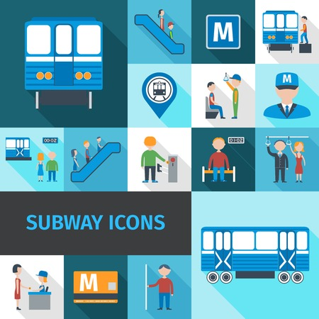 passengers: Subway decorative icons flat set with transport passengers employees and objects isolated vector illustration Illustration