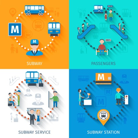 subway station: Subway design concept set with passenger station and service flat icons isolated vector illustration