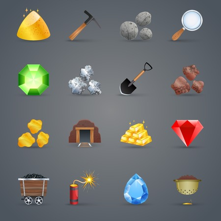 mining: Minería iconos animados estrategia de juego establecidas con herramientas de gemas recoger aislado ilustración vectorial