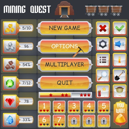 Mining treasure hunt game menu interface with cartoon treasure symbols vector illustration Illustration