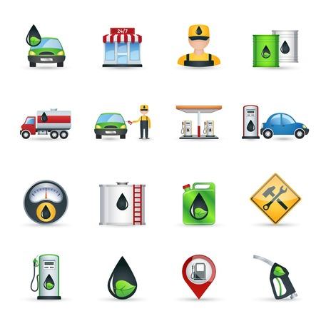 benzine: Gas benzine and petrol station icons set isolated vector illustration