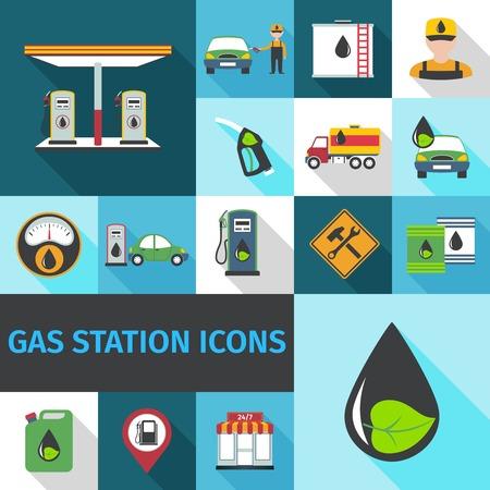 Stacja benzynowa ikony płaski zestaw z eko symbol pompy paliwa z ropy naftowej wyizolowanych ilustracji wektorowych
