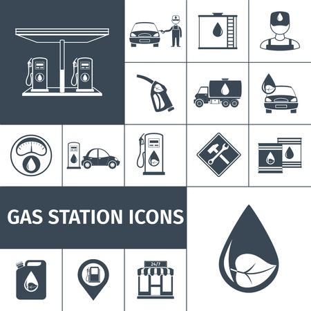 gasolinera: Gasolinera iconos conjunto negro con aislados estación de gasolina del depósito de gasolina ilustración vectorial
