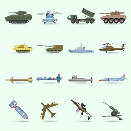 Army icons set with tank submarine military airplane isolated vector illustration Vectores