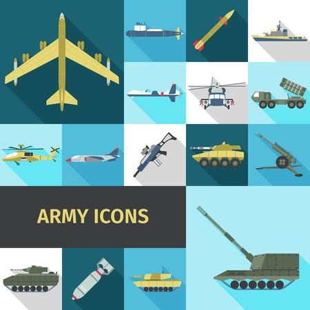 tanque de guerra: Iconos Ejército plana establecen con camión militar nave helicóptero aislado ilustración vectorial