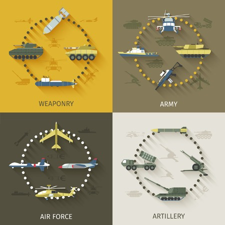 weaponry: Army design concept set with weaponry air force artillery flat icons isolated vector illustration Illustration