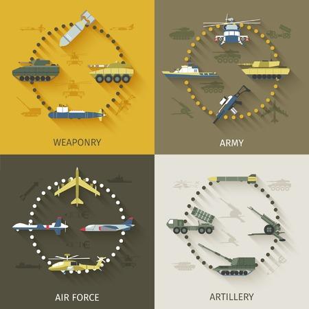 tanque de guerra: Concepto de diseño Ejército establece con iconos planos fuerza de artillería aire armamento aislado ilustración vectorial