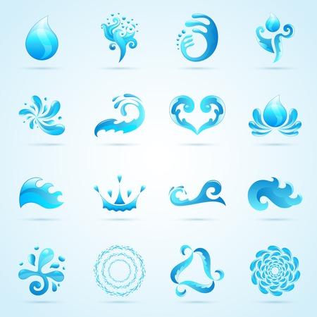 Blue water druppels en spatten pictogrammen instellen geïsoleerde vector illustratie