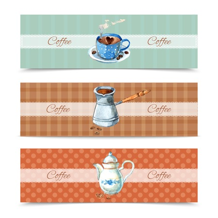 coffee sack: Coffee horizontal banners set with watercolor cup and pot isolated vector illustration Illustration