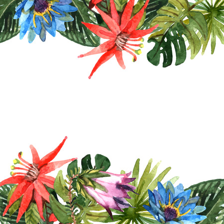 Tropical leaves and exotic flowers branches watercolor border vector illustration Illustration