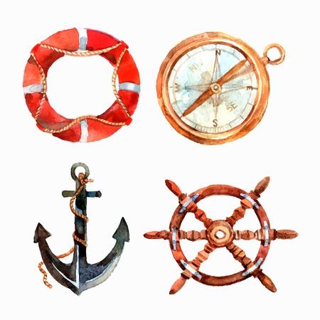 Aquarel nautische set met reddingsboei kompas anker stuurwiel geïsoleerde vector illustratie